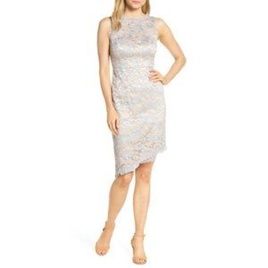 Eliza J Eyelash Lace Asymmetric Sheath Dress
